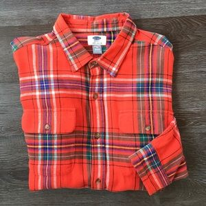 Old Navy Red Plaid Flannel Shirt Boys Size XXL 18